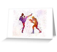 Woman boxwe boxing man kickboxing silhouette isolated 01 Greeting Card