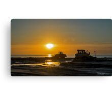 Workers at sunset Canvas Print