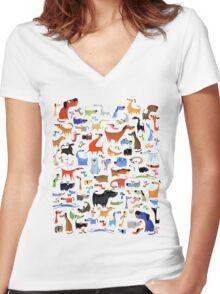 DOG BIG TSHIRT Women's Fitted V-Neck T-Shirt