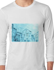 Colorful artistic watercolor of classical buildings Long Sleeve T-Shirt