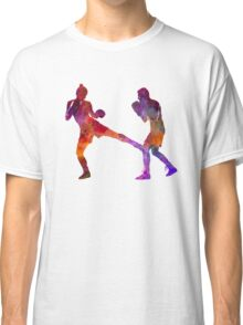 woman boxer boxing man kickboxing silhouette isolated 02 Classic T-Shirt