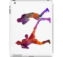 woman boxer boxing man kickboxing silhouette isolated 02 iPad Case/Skin