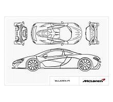 McLaren P1 - BluePrint Photographic Print