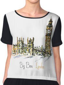 Watercolor Clock tower Big Ben  Chiffon Top