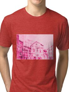 Colorful artistic watercolor of classical buildings Tri-blend T-Shirt