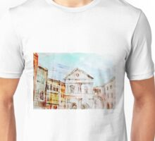 Colorful artistic watercolor of classical buildings Unisex T-Shirt