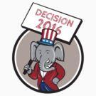 Republican Elephant Mascot Decision 2016 Circle Cartoon by patrimonio