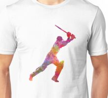 Cricket player batsman silhouette 04 Unisex T-Shirt