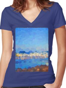 Waves Rolling In Women's Fitted V-Neck T-Shirt