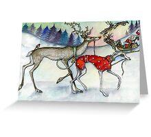 Walking the red nosed reindeer Greeting Card