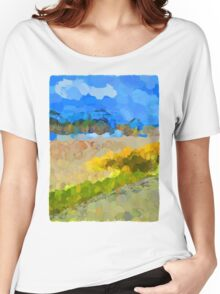Cloudy Beach against the Blue Sky Women's Relaxed Fit T-Shirt