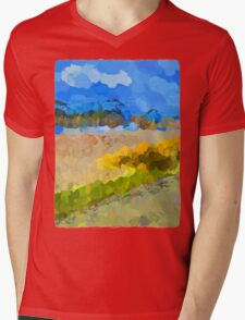 Cloudy Beach against the Blue Sky Mens V-Neck T-Shirt