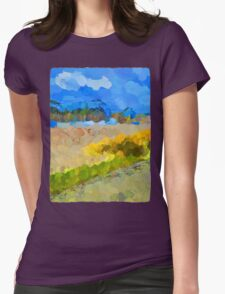 Cloudy Beach against the Blue Sky Womens Fitted T-Shirt