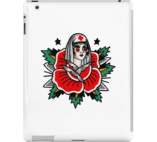 Traditional Rose Pin Up Nurse Tattoo Design iPad Case/Skin