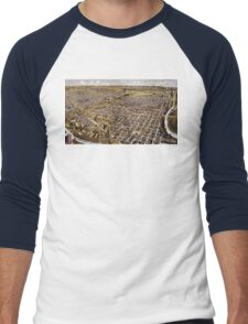 Perspective map of Fort Worth, Texas - 1891 Men's Baseball ¾ T-Shirt