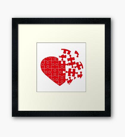 Red Broken puzzle heart Framed Print