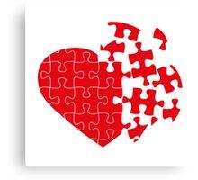 Red Broken puzzle heart Canvas Print