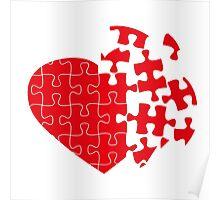 Red Broken puzzle heart Poster