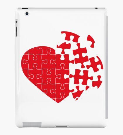 Red Broken puzzle heart iPad Case/Skin
