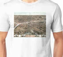 Bird's eye view of the city of Des Moines - Iowa - 1868 Unisex T-Shirt