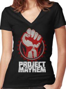 Fight Club Project Mayhem Design Women's Fitted V-Neck T-Shirt