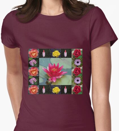Floral Collage with Water Lily and Roses Womens Fitted T-Shirt