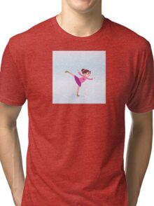 Illustration of figure skating small girl training on Ice Tri-blend T-Shirt