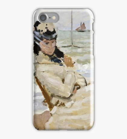 Claude Monet - Camille On The Beach In Trouville 1870  iPhone Case/Skin