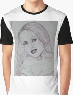 Girl-black pen drawing Graphic T-Shirt