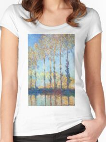Claude Monet - Poplars On The Banks Of The Epte 1891 Women's Fitted Scoop T-Shirt