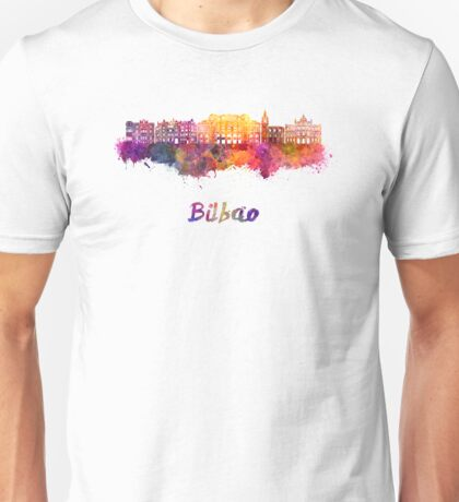 Bilbao skyline in watercolor Unisex T-Shirt
