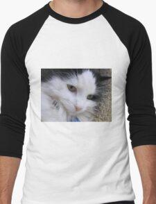Close up of Black & White Cat Men's Baseball ¾ T-Shirt
