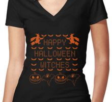 Happy Halloween Witches Pumpkin  Women's Fitted V-Neck T-Shirt