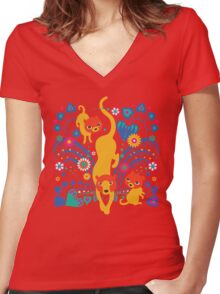 Big CAT mama Women's Fitted V-Neck T-Shirt