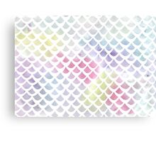 Watercolor fish scale pattern in blue and pink Canvas Print