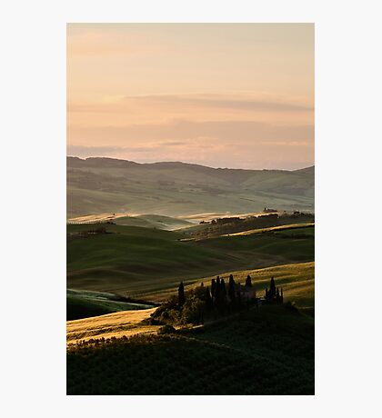 Sunrise in Val d'Orcia, Tuscany Photographic Print