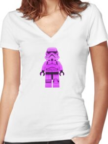 Lego Storm Trooper in Purple Women's Fitted V-Neck T-Shirt