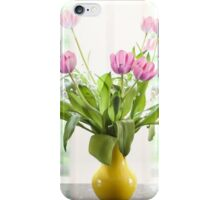 Pink Tulips In The Window iPhone Case/Skin