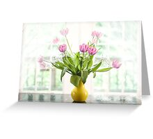 Pink Tulips In The Window Greeting Card