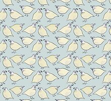 Cream Quail Birds Pattern by Zoe Lathey