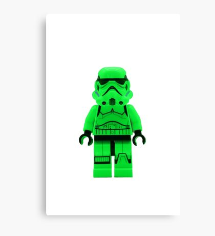 Luminous Green Lego Storm Trooper Canvas Print