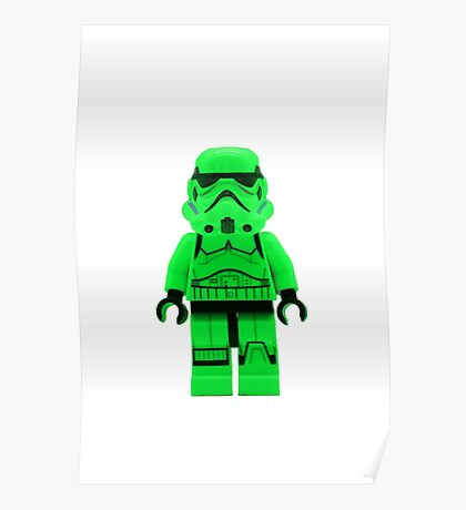 Luminous Green Lego Storm Trooper Poster