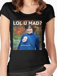 u mad bro? lol y he mad tho Women's Fitted Scoop T-Shirt