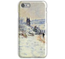 Claude Monet - The Road To Vetheuil Snow Effect iPhone Case/Skin