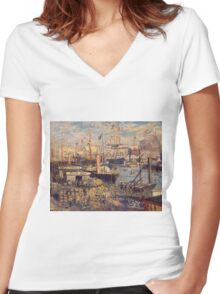 Claude Monet - The Grand Dock At Le Havre 1872 Women's Fitted V-Neck T-Shirt