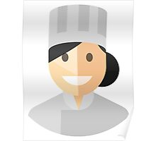 White Chef Hat Woman Poster