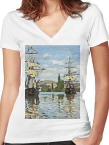 Claude Monet - Ships Riding On The Seine At Rouen 1872  Women's Fitted V-Neck T-Shirt