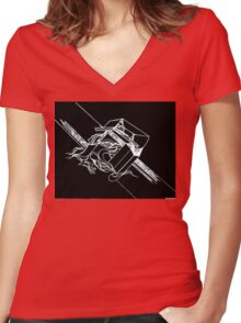 Multi Dimensional Abstract Ink Inverted Women's Fitted V-Neck T-Shirt