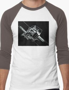 Multi Dimensional Abstract Ink Inverted Men's Baseball ¾ T-Shirt