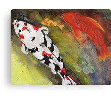 Playful painting of colorful koi fish swimming in a pond Canvas Print